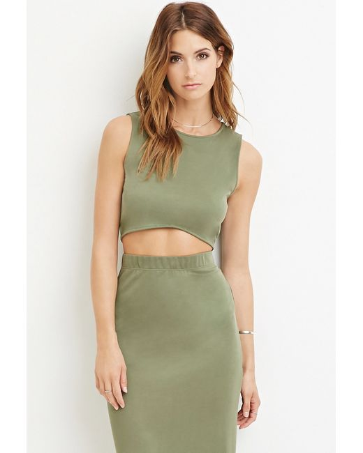 Forever 21 | Green Curved-hem Crop Top | Lyst