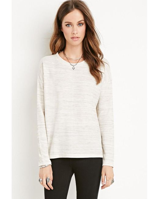Forever 21 | Natural Heather Ribbed Top | Lyst