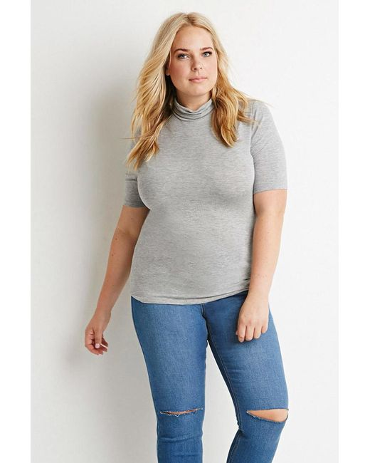 Forever 21 | Gray Slouchy Mock Neck Tee | Lyst