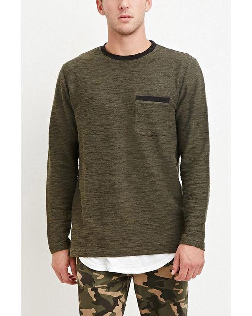 Forever 21 | Green Marled Knit Pocket Tee for Men | Lyst