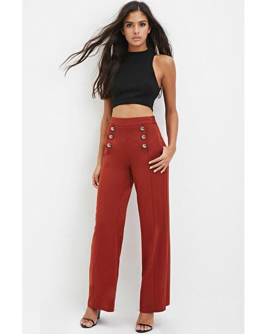 Forever 21 | Brown Sailor-buttoned Wide-leg Trousers | Lyst