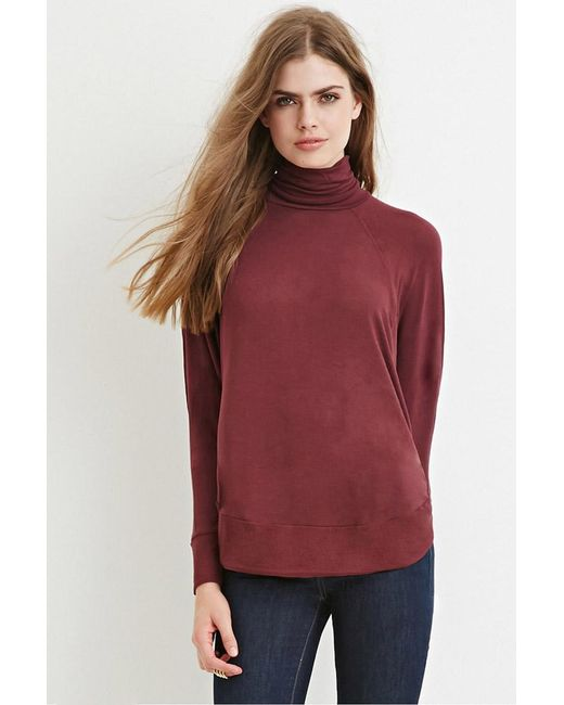 Forever 21 | Purple Contemporary Oversized Turtleneck Top | Lyst