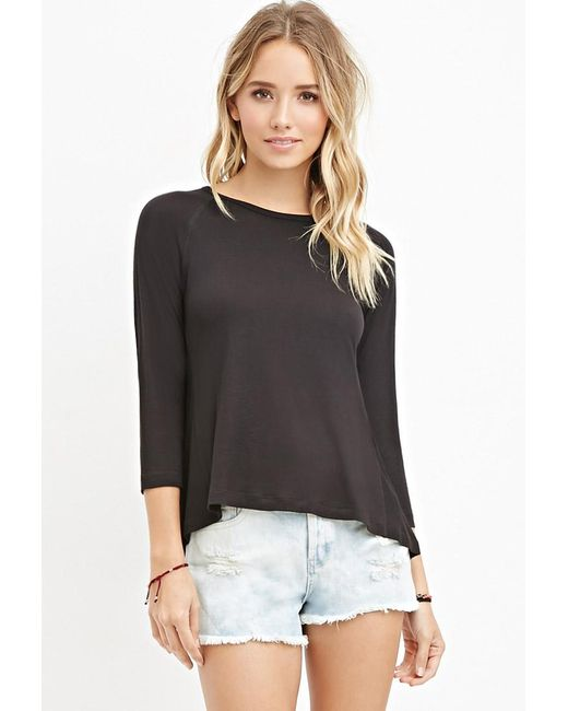 Forever 21 | Black Ribbed-panel Slub Knit Top | Lyst