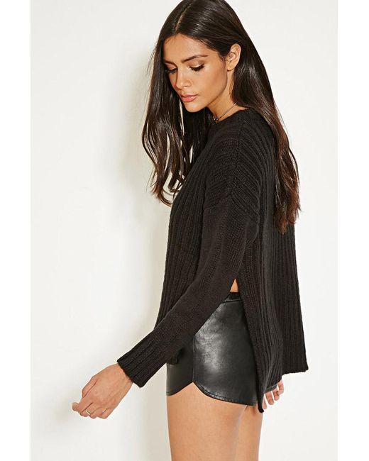 Forever 21   Black Mlm Side-slit Ribbed Sweater   Lyst