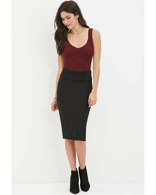 Forever 21 | Black Sweater-knit Pencil Skirt | Lyst