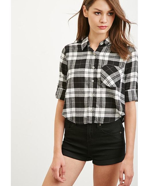 Forever 21   Black Boxy Plaid Shirt   Lyst