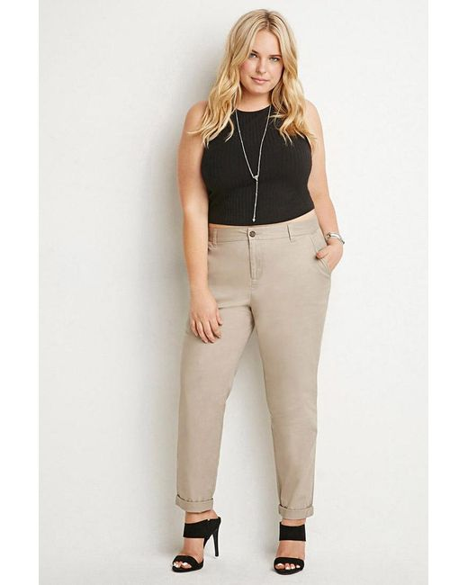 Forever 21 | Natural Plus Size Classic Chino Pants | Lyst