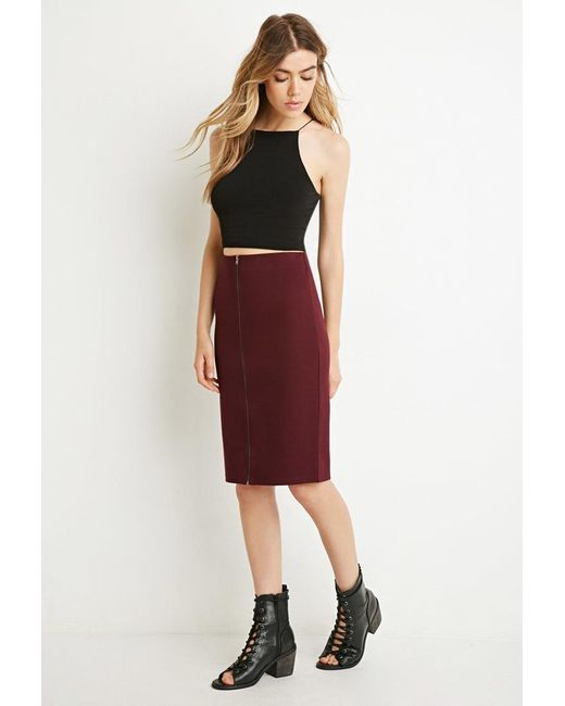 Forever 21 | Red Zipped Pencil Skirt | Lyst