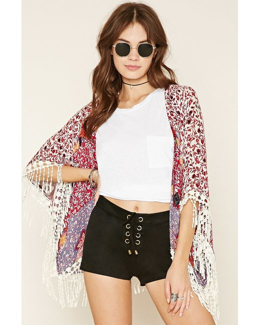 Forever 21 | Black Lace-up Faux Suede Shorts | Lyst