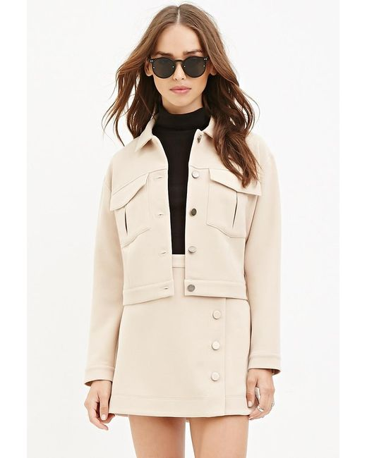 Forever 21 | Natural Collared Two-pocket Jacket | Lyst