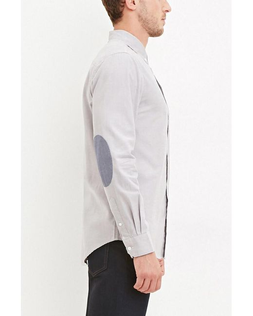 Forever 21 | Gray Chambray-patched Pocket Shirt for Men | Lyst