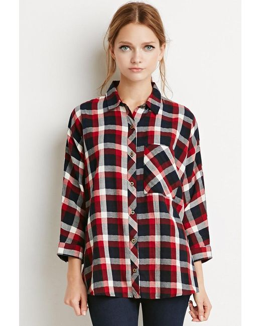 Forever 21 | Red Boxy Plaid Shirt | Lyst