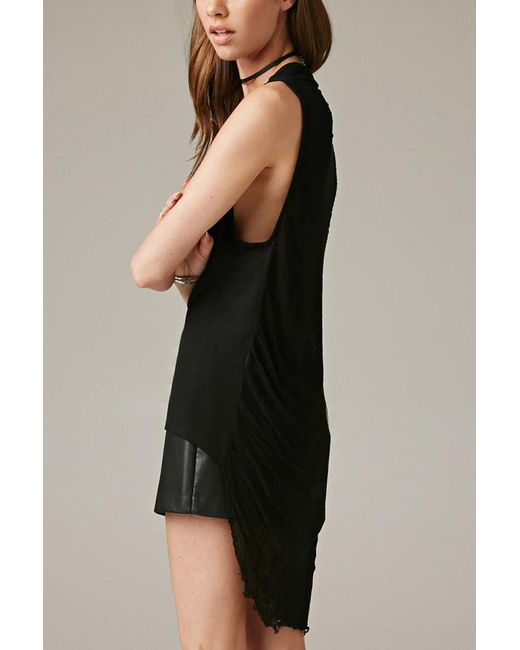 Forever 21 | Black Marina T. Shredded Sheer-back Tank | Lyst