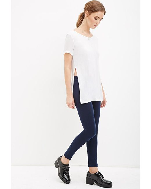 Forever 21 | Blue Ribbed Knit Leggings | Lyst