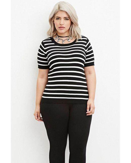 Forever 21 | Black Plus Size Striped Sweater | Lyst