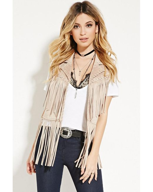 Forever 21 | Brown Faux Suede Fringe Gilet | Lyst