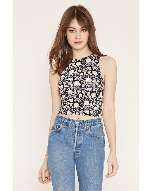 Forever 21 | Gray Floral Print Top | Lyst