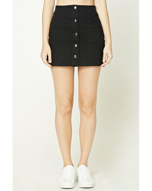Forever 21 Button-front Denim Skirt in Black | Lyst