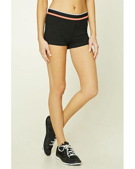 Forever 21 | Black Active Contrast Striped Shorts | Lyst
