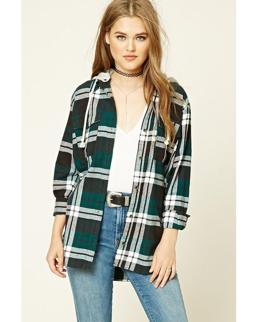 Forever 21 Hooded Plaid Flannel Shirt In Green Lyst