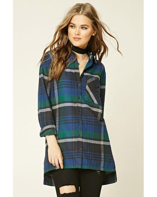 Forever 21 Plaid Flannel Shirt In Green Lyst
