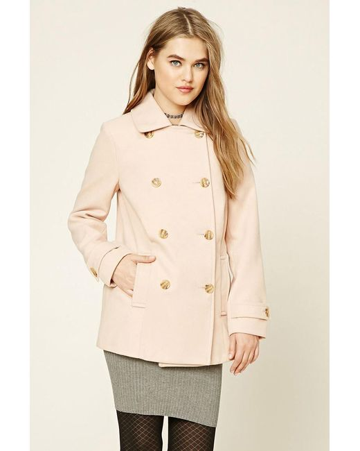 Forever 21 | Natural Double-breasted Pea Coat | Lyst