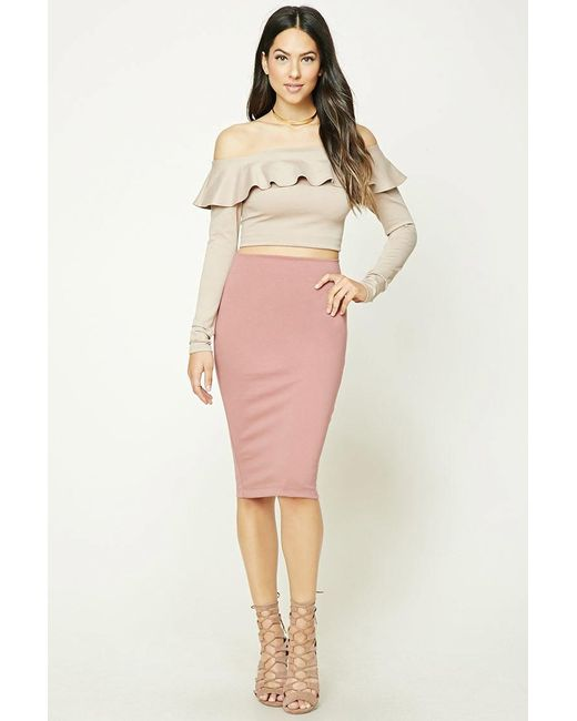 Forever 21 Stretch-knit Pencil Skirt in Purple   Lyst