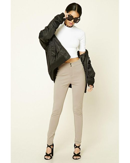 Forever 21 | Natural Flat-front Stretch-knit Pants | Lyst