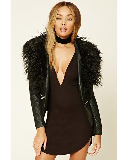 Forever 21 | Black Faux Fur-trimmed Jacket | Lyst