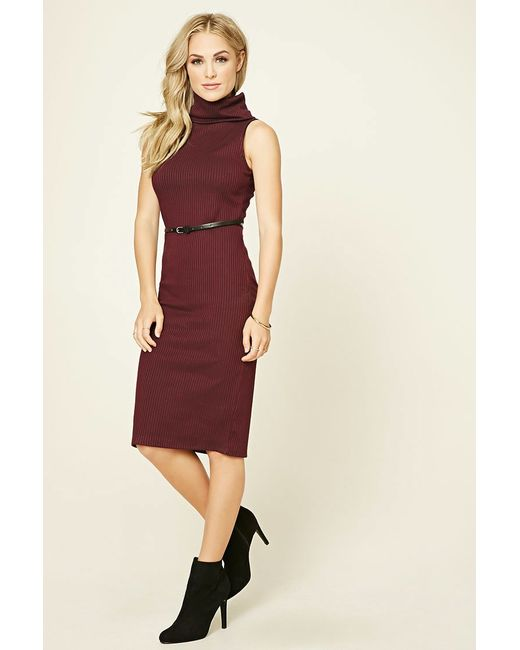 Forever 21 | Red Belted Turtleneck Dress | Lyst