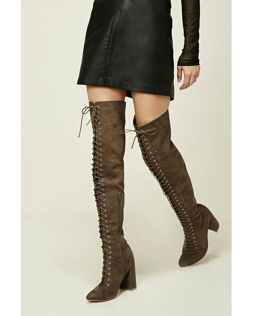 forever 21 lace up thigh high boots in green lyst