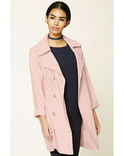 Forever 21   Pink Belted Trench Coat   Lyst