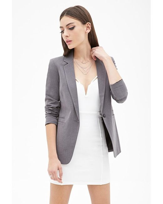 Forever 21 | Gray Classic Notched Collar Blazer | Lyst