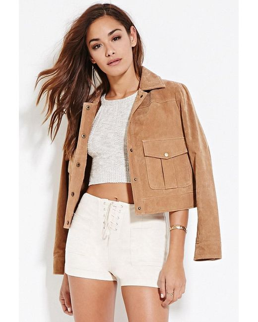 Forever 21 - White Faux Suede Lace-up Shorts - Lyst