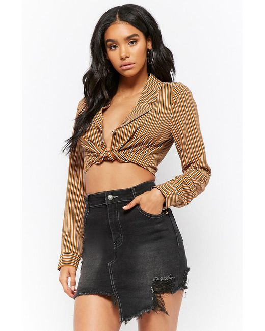 Forever 21 - Black Distressed Asymmetrical Denim Mini Skirt - Lyst