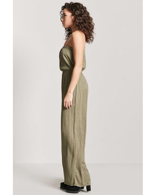 db2f814f4106 Forever 21 Women s Metallic Strapless Jumpsuit in Green - Lyst