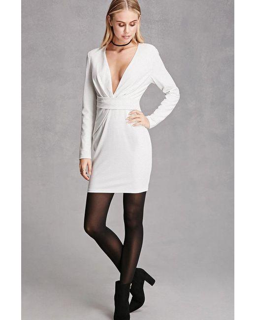 Forever 21 - White Selfie Leslie Stripe Dress - Lyst