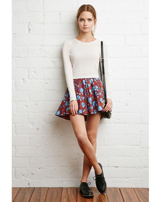Forever 21   Blue Pleated Floral Skirt   Lyst