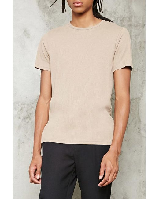 Forever 21   Natural Ribbed Knit Tee for Men   Lyst