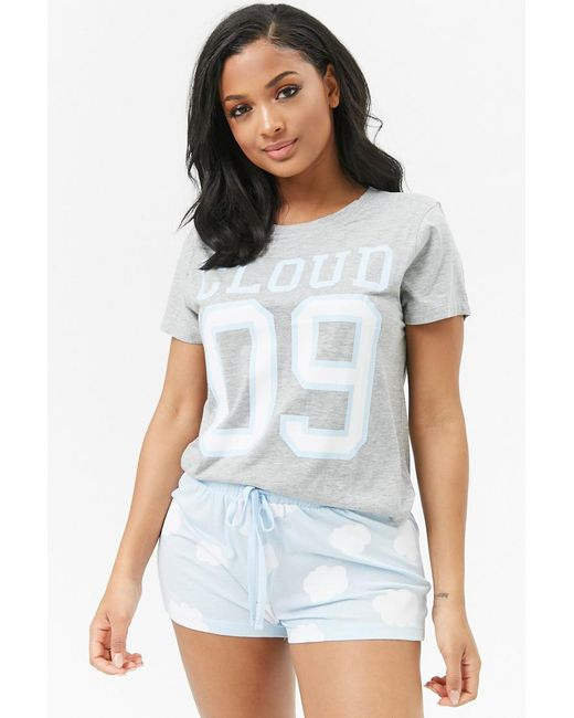 Forever 21 - Gray Cloud 09 Graphic Pj Set - Lyst