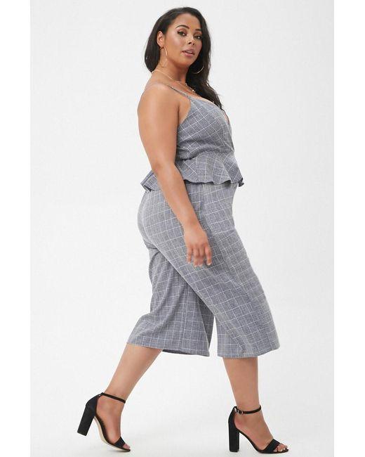 8f5f0d79329 ... Forever 21 - Blue Plus Size Marled Slub Woven Grid Peplum Culotte  Jumpsuit - Lyst ...
