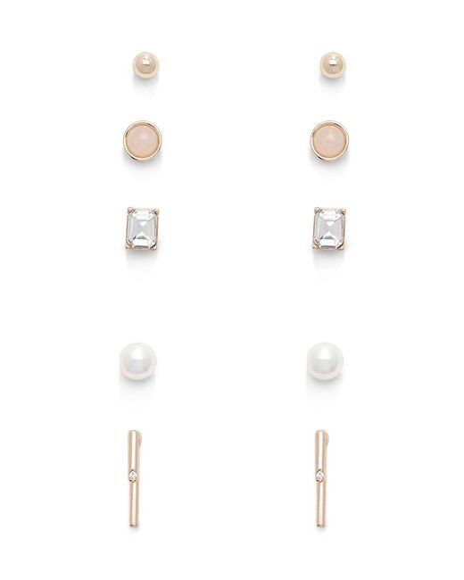 Forever 21 | Metallic Faux Pearl And Rhinestone Stud Set | Lyst
