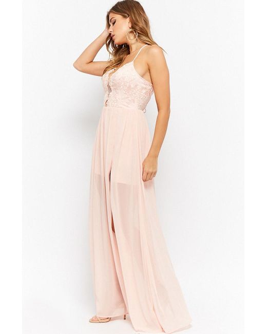 2f9ad32bfa ... Forever 21 - Pink Soieblu Sheer Mesh Floral Embroidered Chiffon Maxi  Dress - Lyst