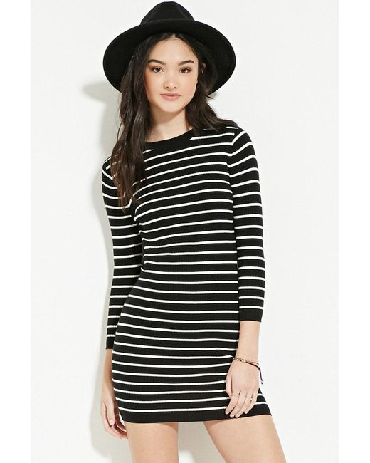 Forever 21 | Black Striped Jumper Dress | Lyst