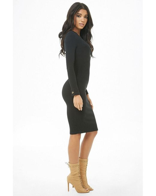 c022b69e233d7 ... Forever 21 - Black Ribbed Button-front Bodycon Dress - Lyst