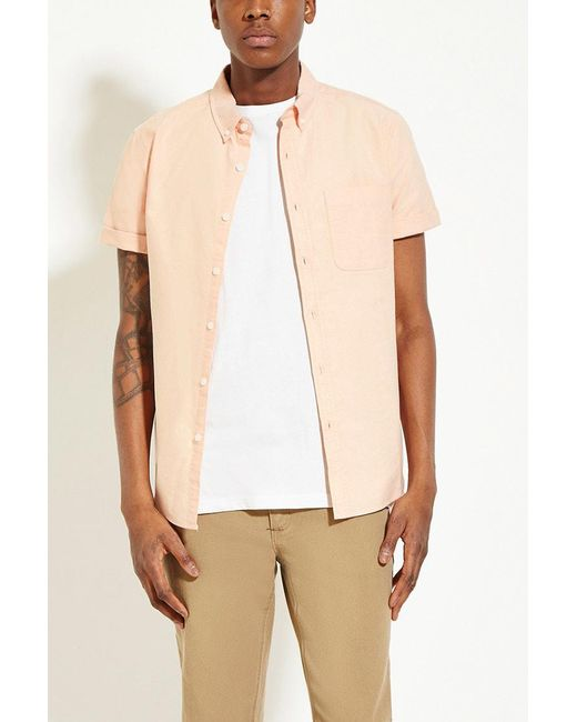 Forever 21 - Orange Cotton Oxford Shirt for Men - Lyst