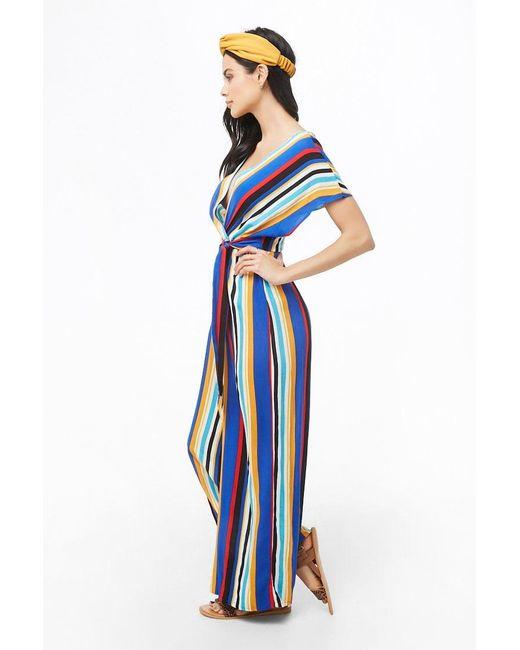 a19292c13792 ... Forever 21 - Blue Striped Dolman Jumpsuit - Lyst