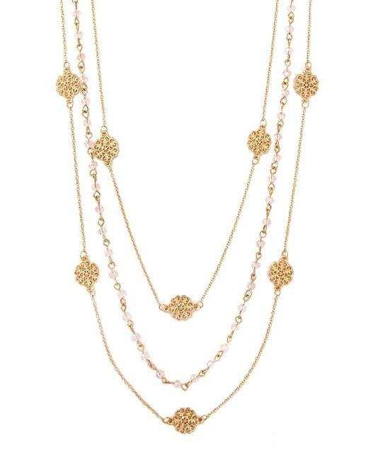 Forever 21   Metallic Layered Bead Necklace   Lyst