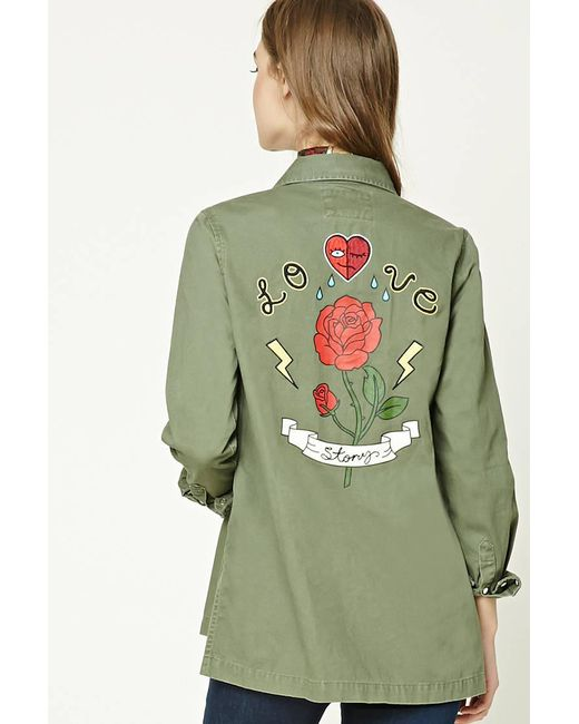 Forever 21 - Green Love Story Graphic Jacket - Lyst