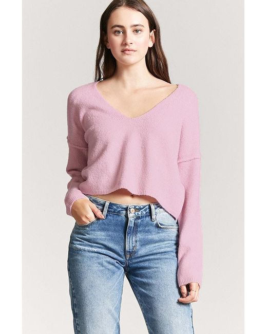 FOREVER21 - Pink V-neck Crop Sweater - Lyst